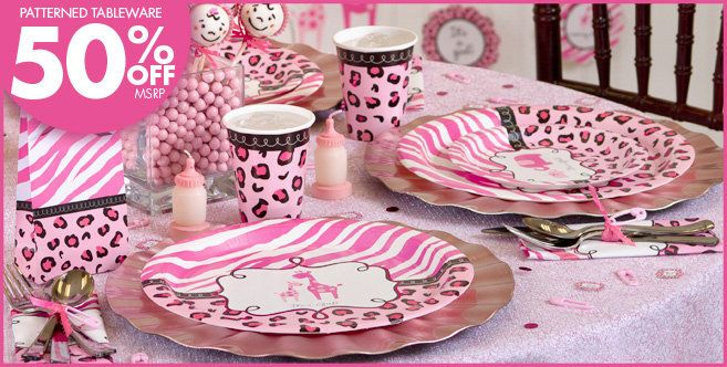 Pink Safari Baby Shower Party Supplies Party City Grandbaby On
