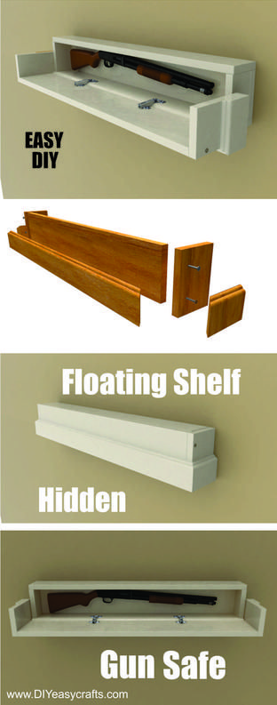 How to make a diy secret compartment floating shelf gun for How to make a secret compartment in your wall