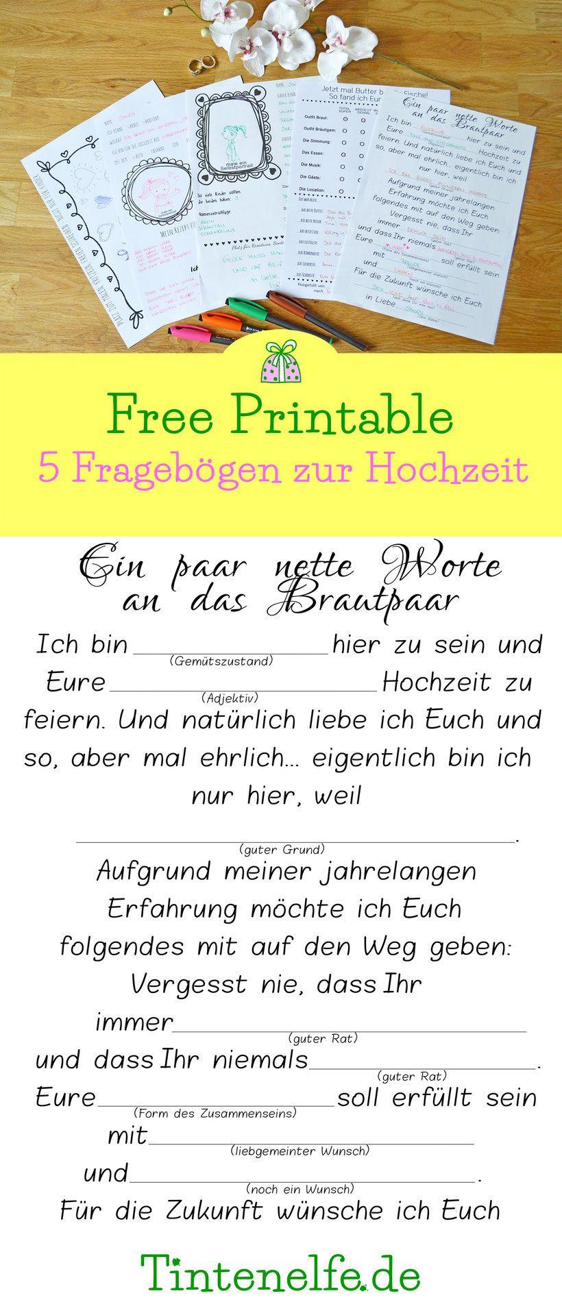 Hochzeitskram Free Printable Fragebogen Als Gastebuch Mit