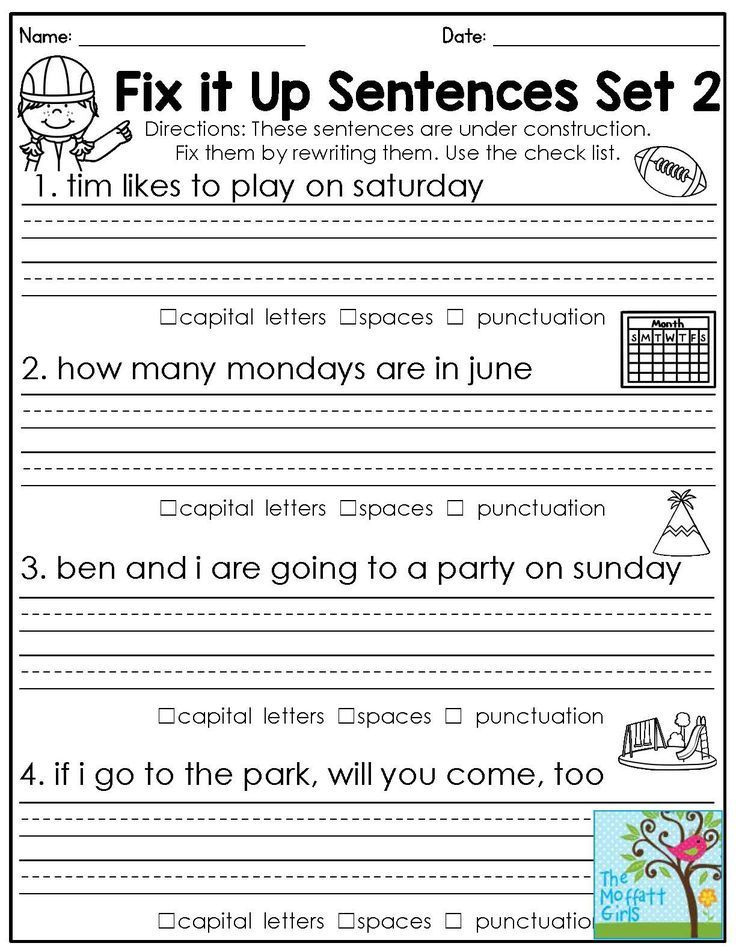 Fix It Up Sentences 1st Grade Language Arts And Grammar Rewrite The Sentences With 2nd Grade Worksheets 2nd Grade Reading Worksheets Punctuation Worksheets First grade capitalization worksheets