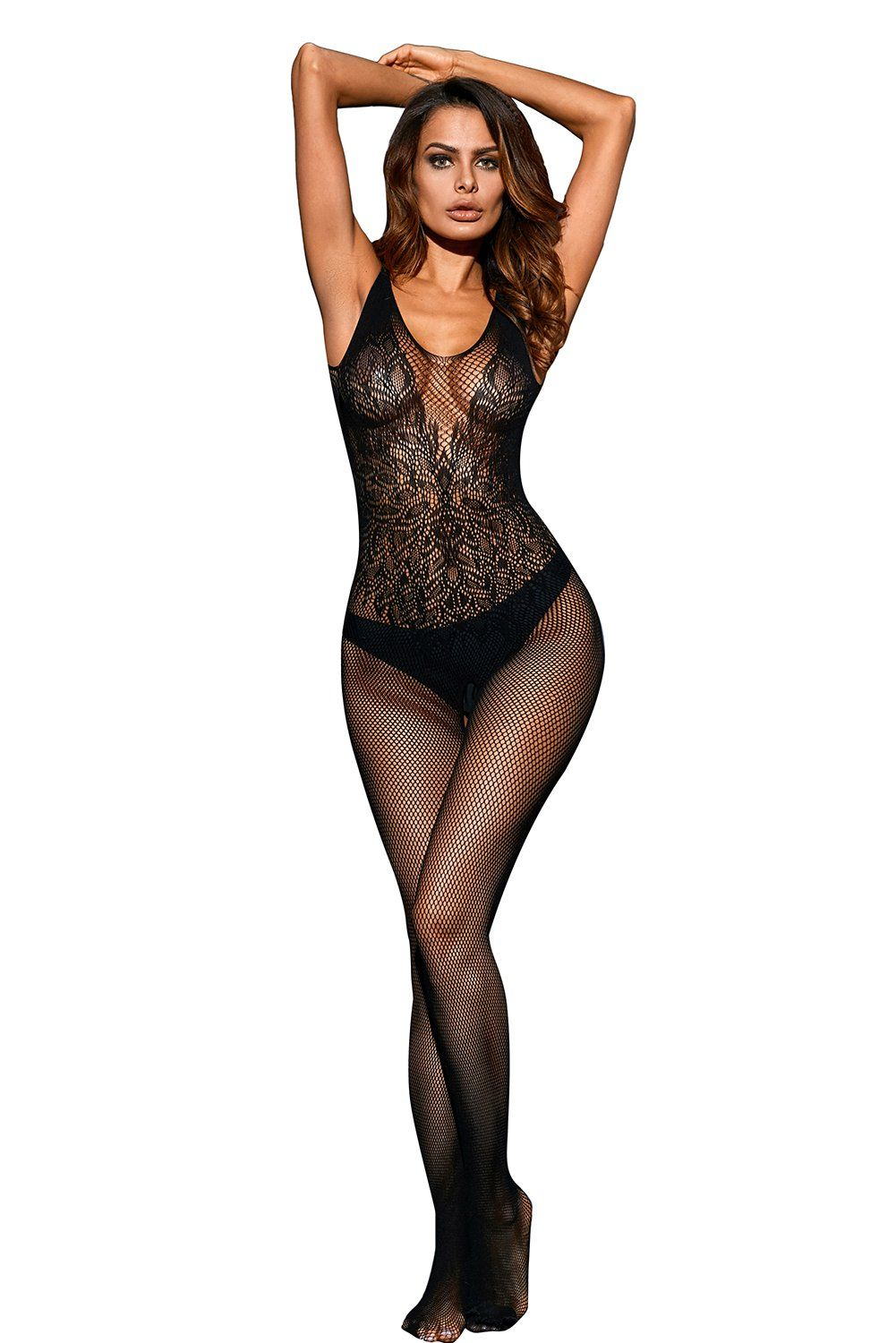 a6e54dded373 Black Leavy Lace Seamless Mesh Body Stocking