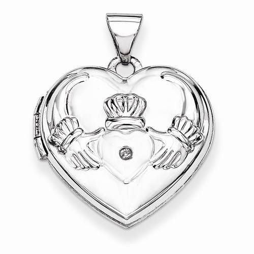 "NEW 14K WHITE GOLD HEART SHAPED DIAMOND CLADDAGH LOCKET .82"" PENDANT CHARM #Locket"