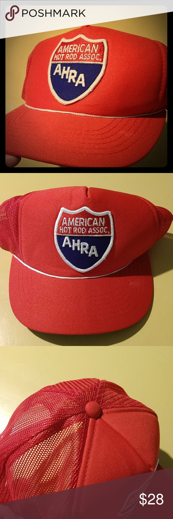 Vtg HOT ROD AHRA Mesh Snap Back Trucker Hat Retro vintage American Hot Rod Assoc…