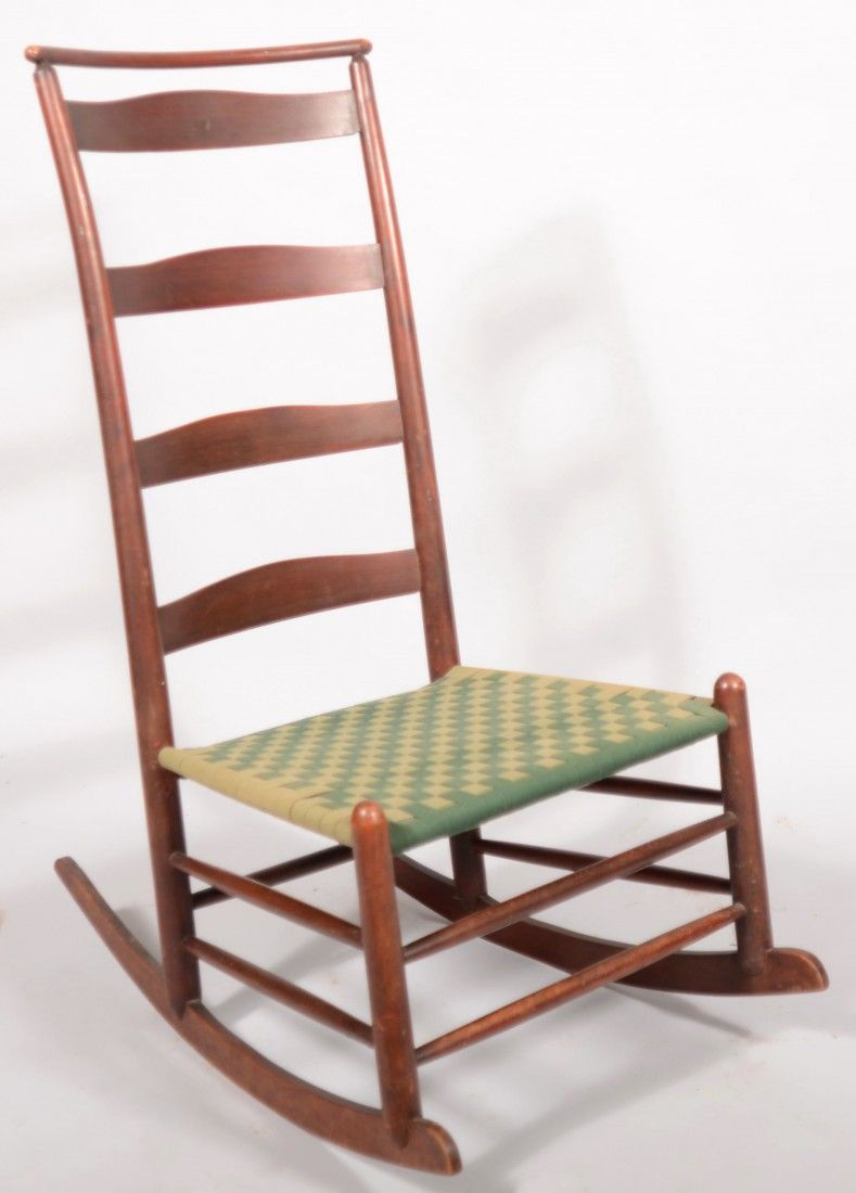 19th Century Shaker Rocking Chair with old red finish. - 267: 19th Century Shaker Rocking Chair With Old Red Fin On Antique