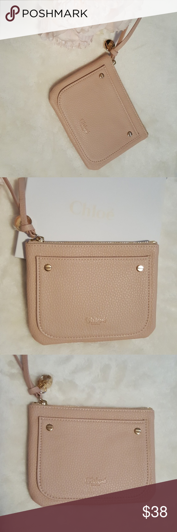 NIB CHLOE POUCH Adorable blush Chloe pouch with gold hardware   a front  pocket. Comes 501823cf7478a