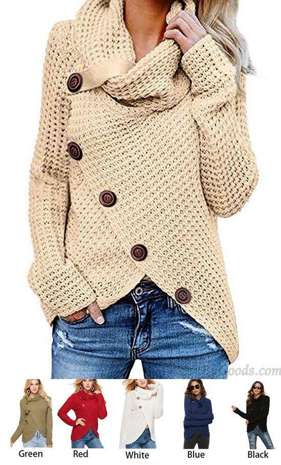 Unique Women's Irregular Coat Long Sleeve High Collar Wool Knitting Sweater #sweater #coat