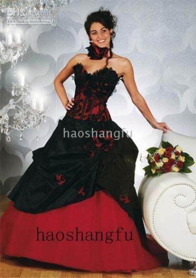 Red And Black Corset Wedding Gothic Wedding Dresses Wedding