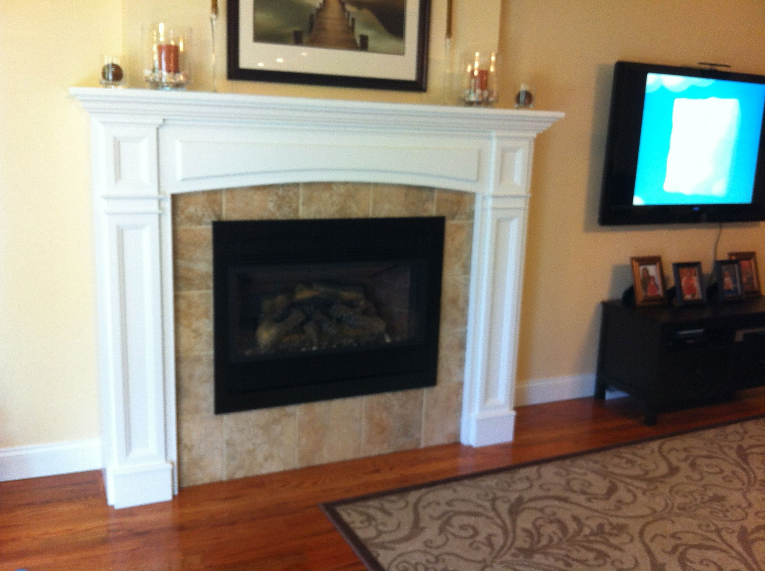 gas fireplace insert tile face of fireplace no hearth fluted