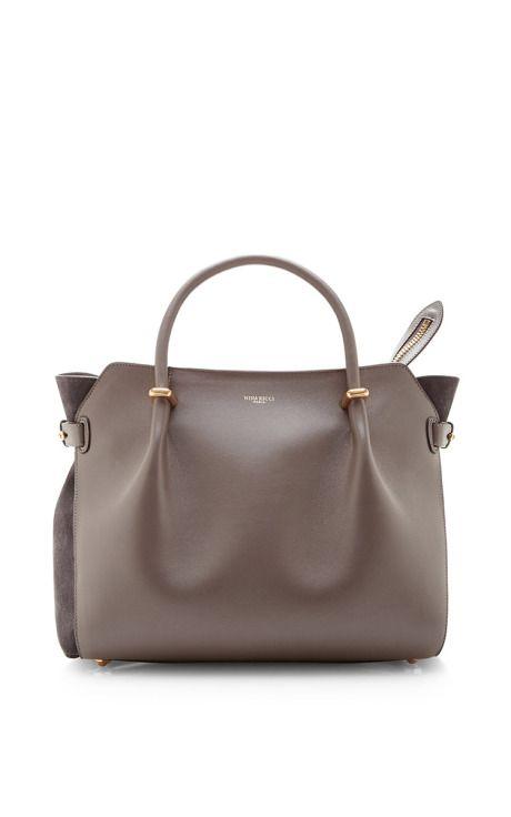 Grey Leather Tote Bag by Nina Ricci Now Available on Moda Operandi