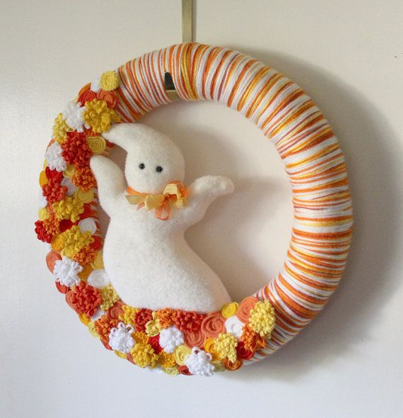 Extra Large 18inch Wreath Candy Corn Ghost by TheBakersDaughter