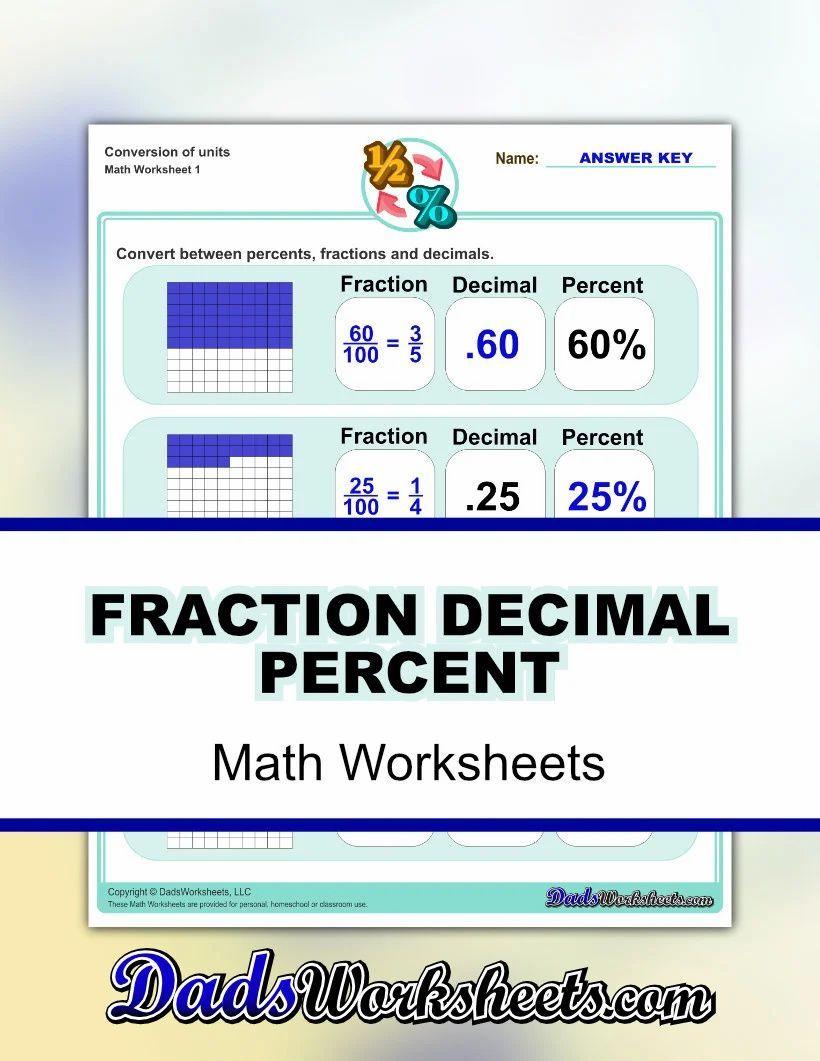 Fraction Decimal Percent Worksheets In 2021 Fractions Decimals Percents Fractions Math Facts Addition [ 1061 x 820 Pixel ]