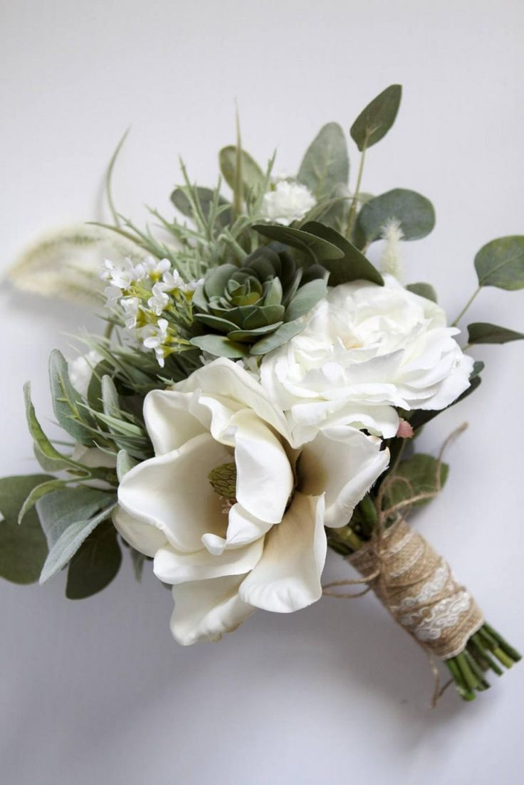 white wedding bouquet greenery succulent bridal bouquet silk flower bridal bouqu… – Envypic