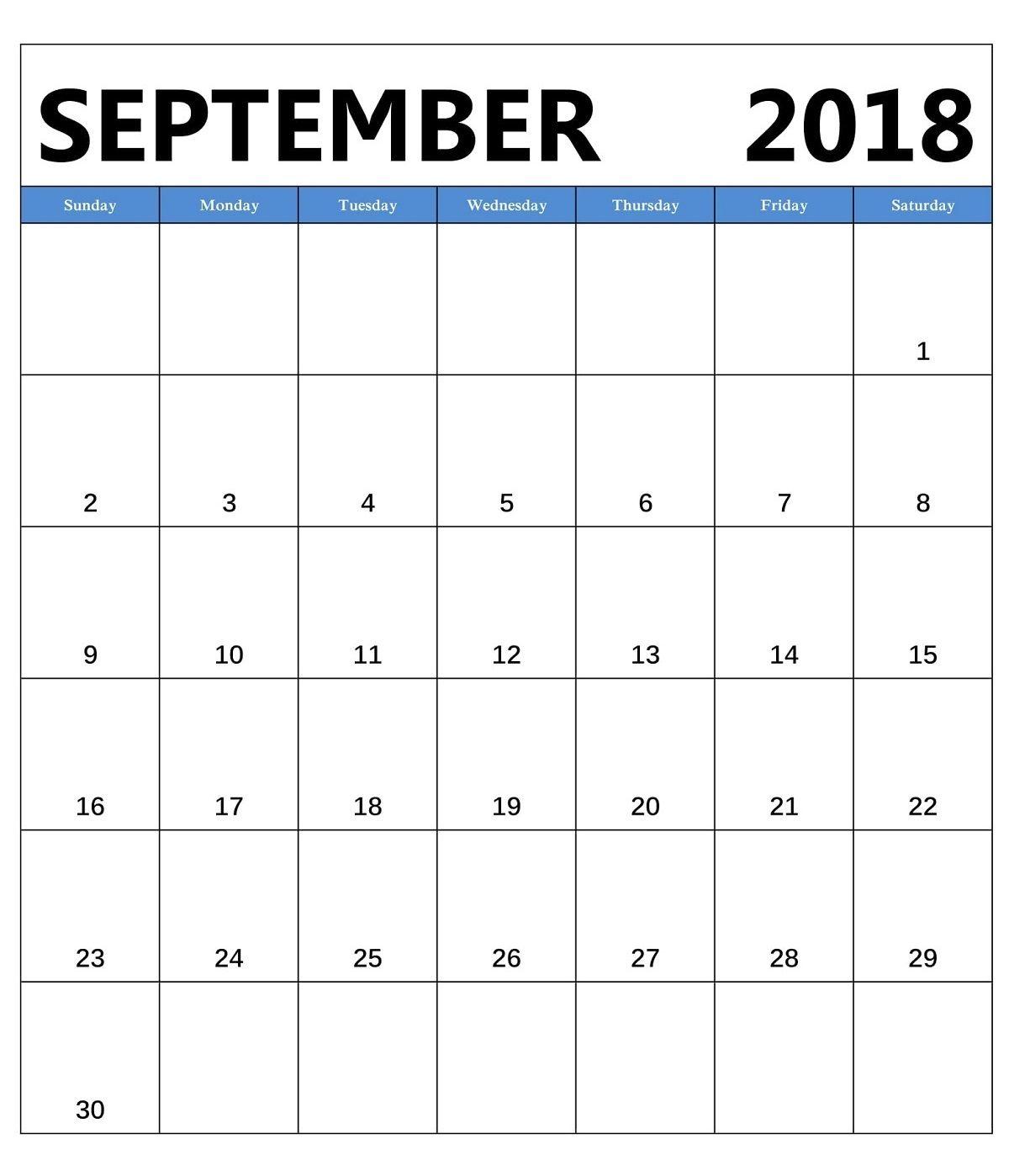 September 2018 Vertical Blank Template Calendar Blank Calendar