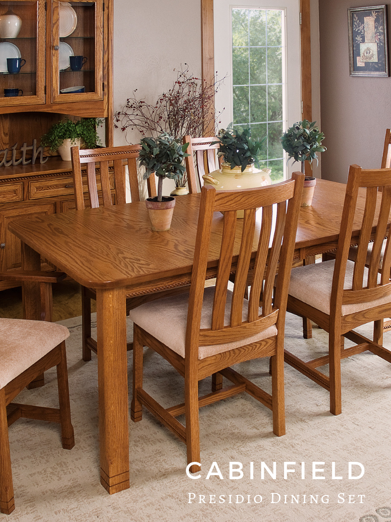 Redecorate your dining space with the heirloom quality appeal of the presidio amish dining room