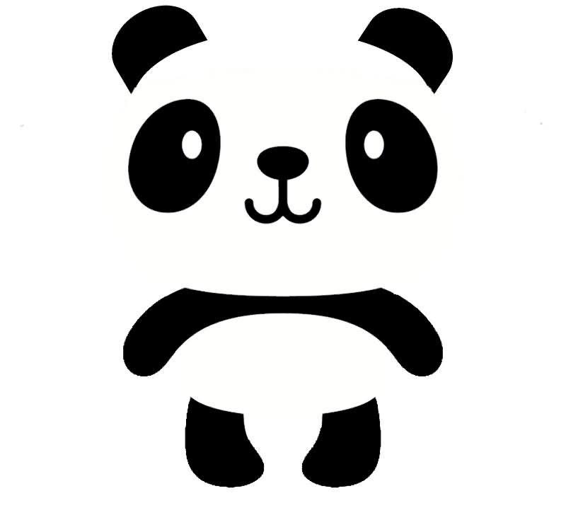 Cute black and white cartoon smiling panda tattoo ...