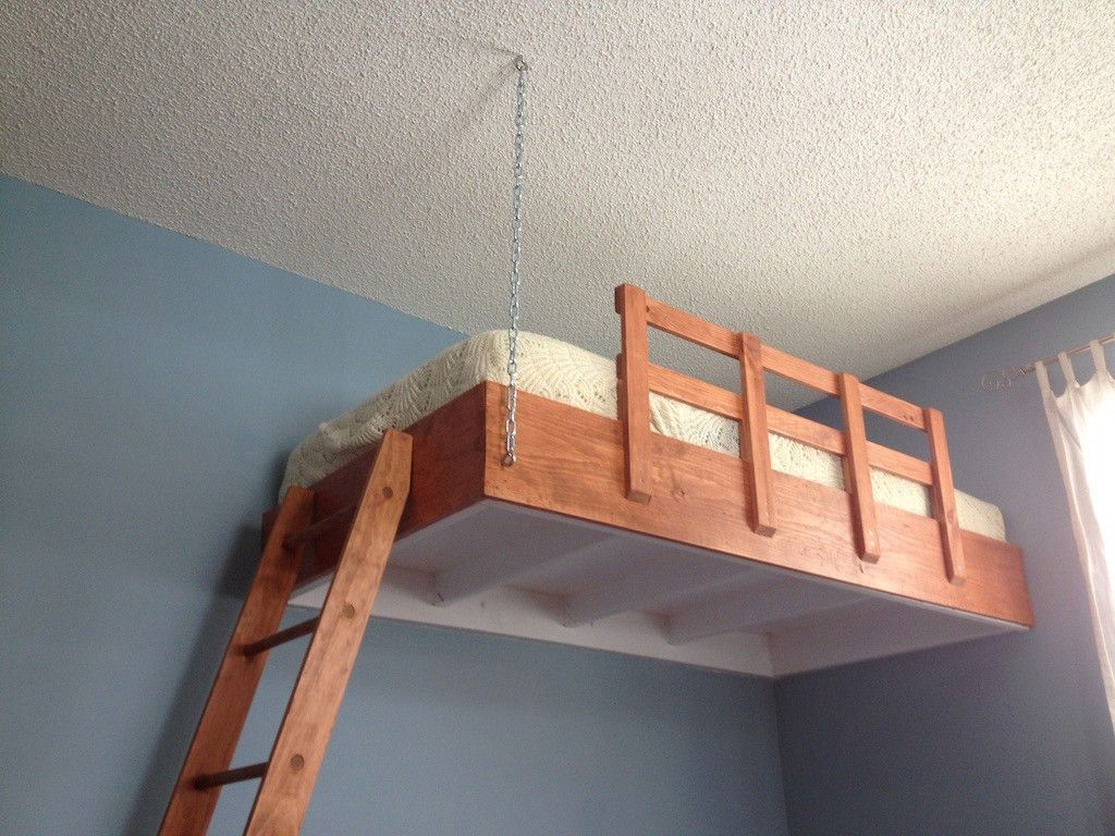 I built a suspended loft bed for my son's room Loft bed