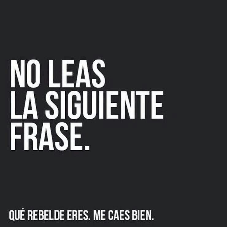 No Leas La Siguiene Frase Qué Rebelde Eres Me Caes Bien