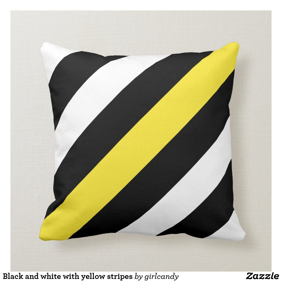 Black And White With Yellow Stripes Throw Pillow Zazzle Com In 2020 Stripe Throw Pillow Throw Pillows Striped Throw