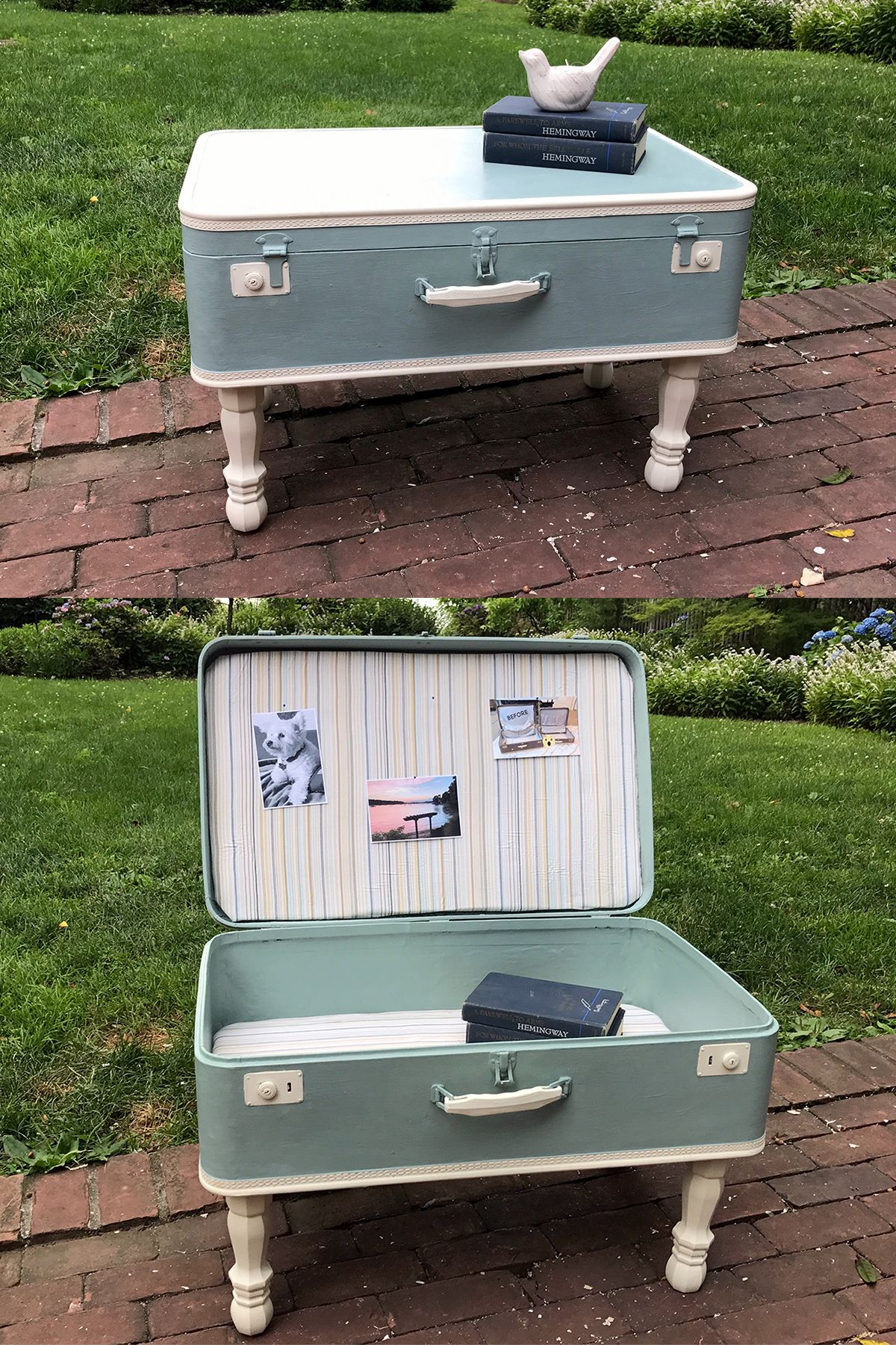 Vintage suitcase upcycled to a coffee table Annie Sloan Duck Egg