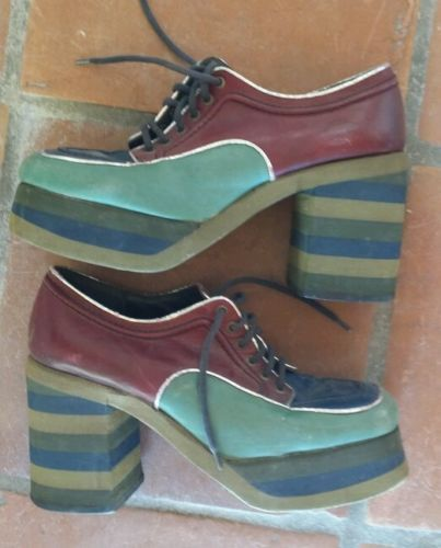 89802979830 Possibly The MOST Incredible Men s Vintage 60s 70s PLATFORM shoes  Ever-GROOVY!