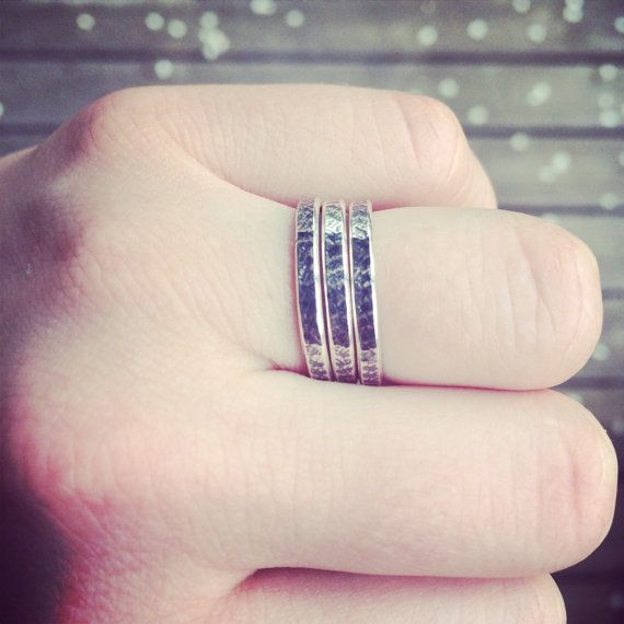 Oxidized Roller Printed Silver Stacking Rings
