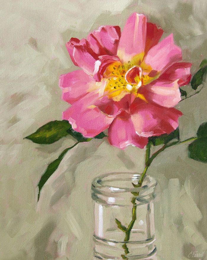 """""""Old Garden Rose"""" - giclee on canvas painting"""