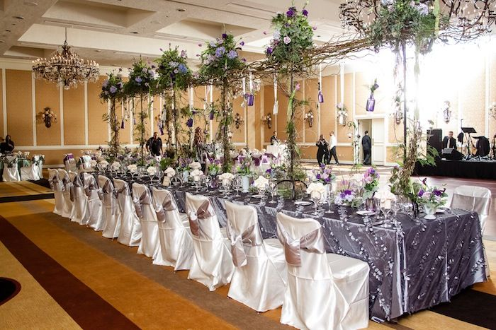 Purple and pewter kings table with hanging flowers | www.fetenashville.com