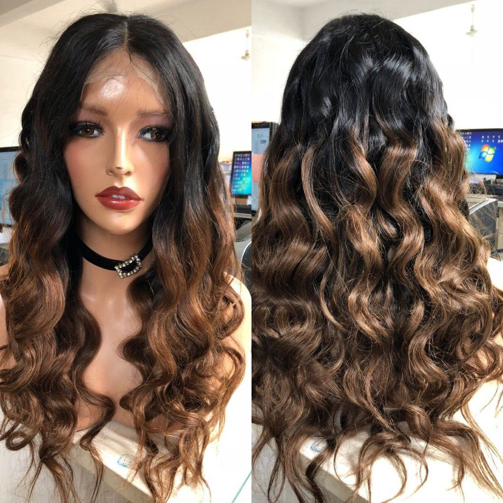 Ombre 1B/27 Color lace Front Wigs Pre Plucked Body Wave