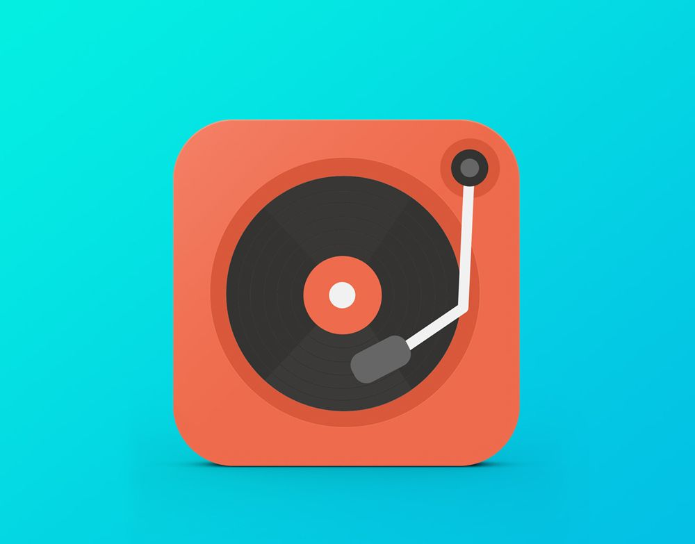 Music on the Go iPad App icon graphic design flat icon