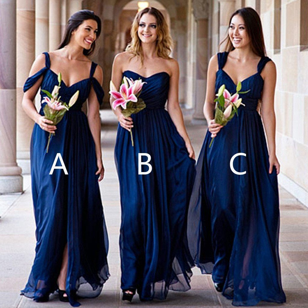 Mismatched different styles chiffon royal blue cheap pleating formal