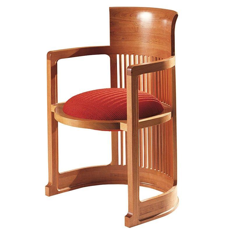 Frank Lloyd Wright Large Taliesin Barrel Chair Wool Fabric Upholstery Frank Lloyd Wright Furniture Barrel Chair Frank Lloyd Wright