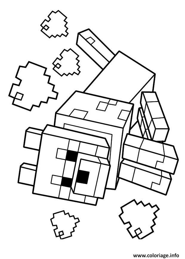Coloriage Minecraft Le Loup 1 Dessin A Imprimer Coloriage Minecraft Coloriage Dessins Minecraft