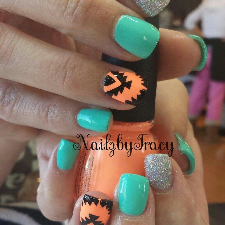 Aztec nail art | NailzbyTracy | Pinterest | Aztec nail art, Aztec ...