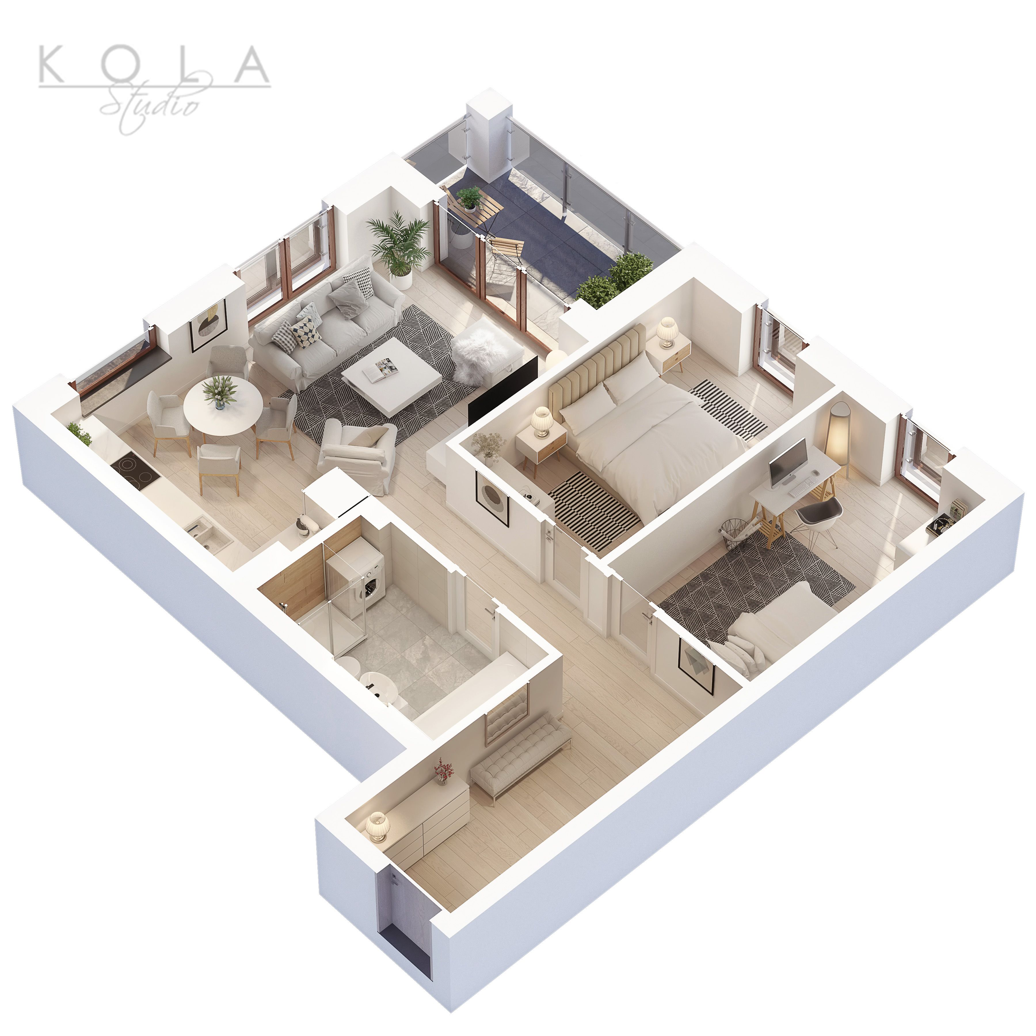 3d Floor Plan Of A 3 Bedroom Apartment For Sale Designed In A Modern Scandinavian Style Visu House Floor Design Hotel Room Design Small Apartment Floor Plans