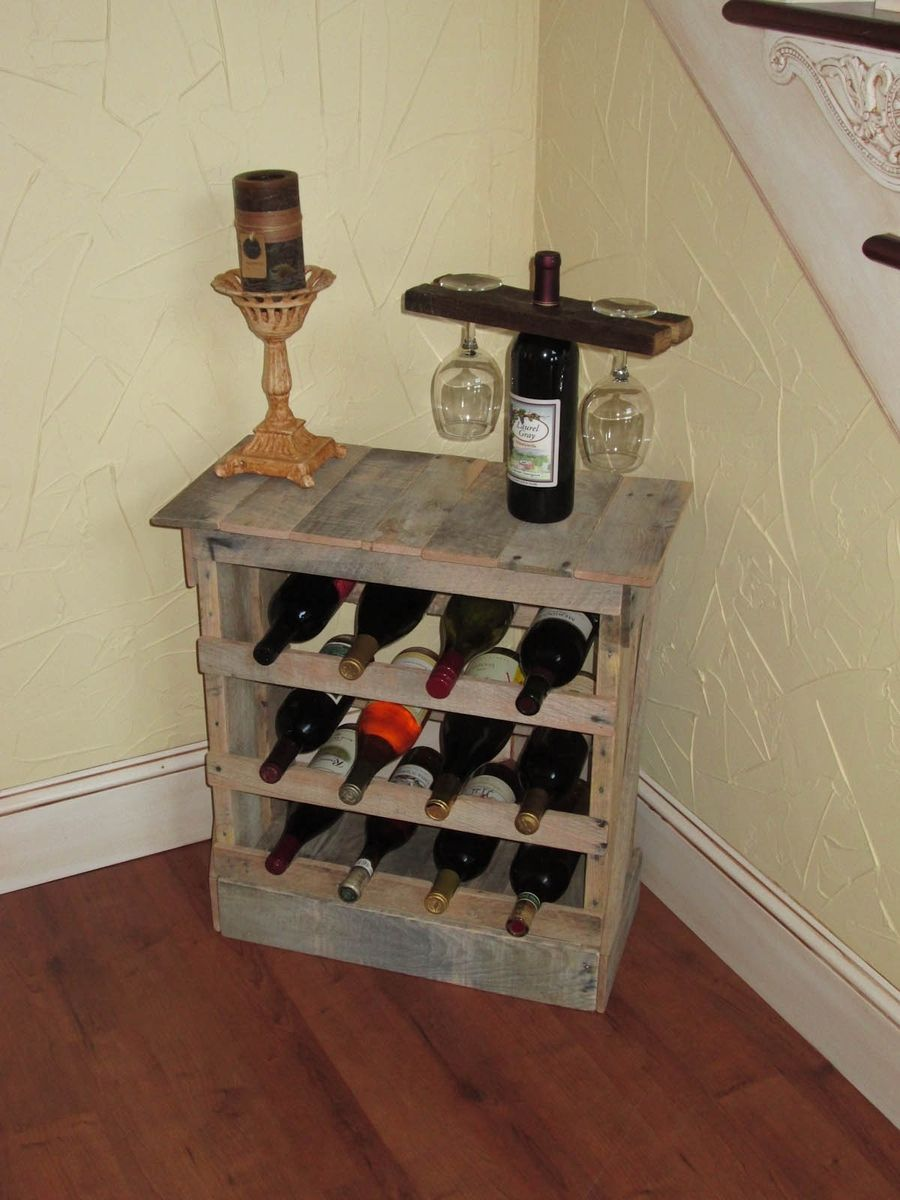 Pallet Wood 12 Bottle Wine Rack Floor Or Counter Top Rustic