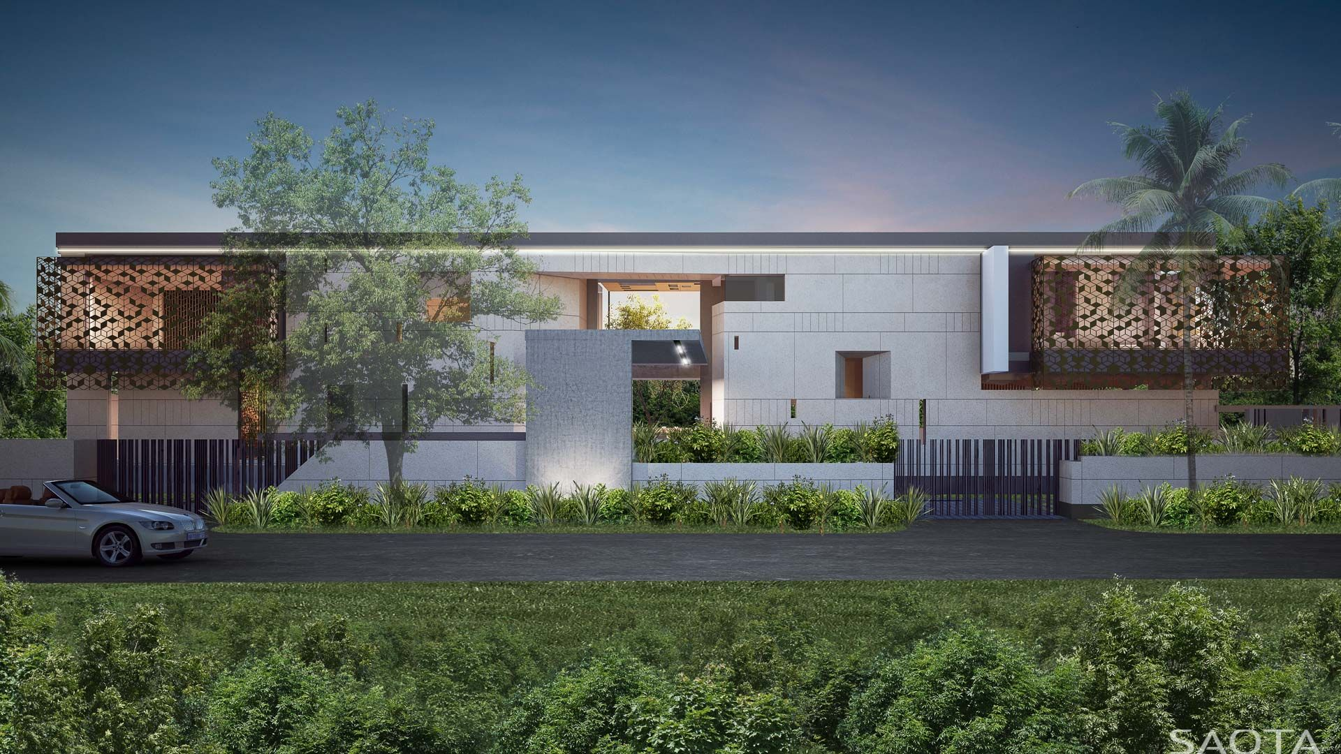 The Site Is A Thin Eastfacing Strip Along The Edge Of A Golf - Modern house jakarta