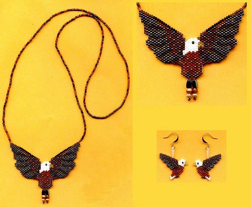Eagle Beaded Necklace Set by maddiethekat, via Flickr