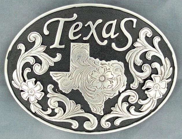 Made in USA Texas State Seal Oval Rope Edge Trophy Buckle New