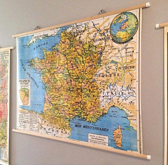 Carte géographique vintage de la France politique (1972) Girard et