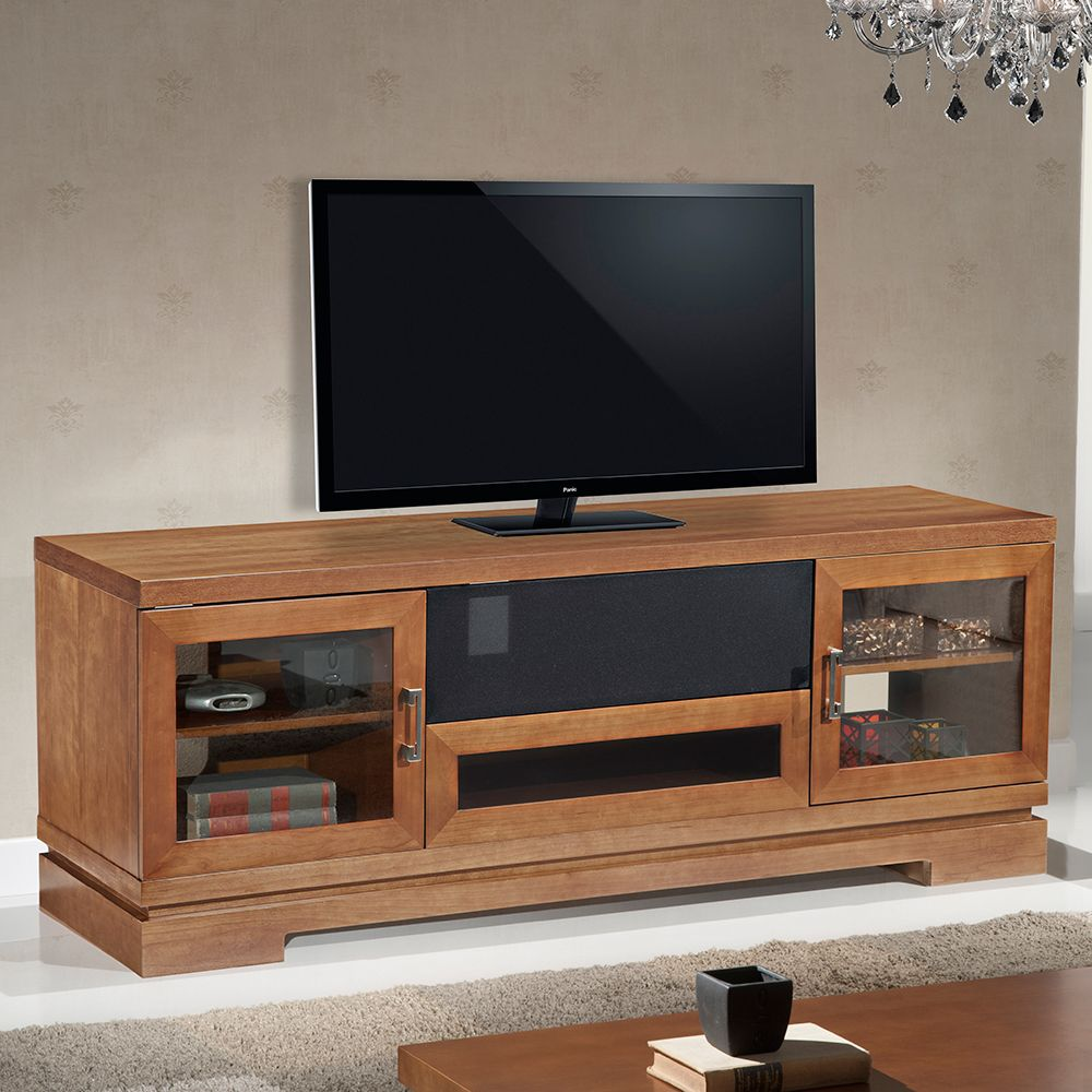 Cheap legends furniture cambridge fireplace media center in cherry - Furnitech 70 Tv Stand Contemporary Media Cabinet W Center Speaker Opening In Cherry