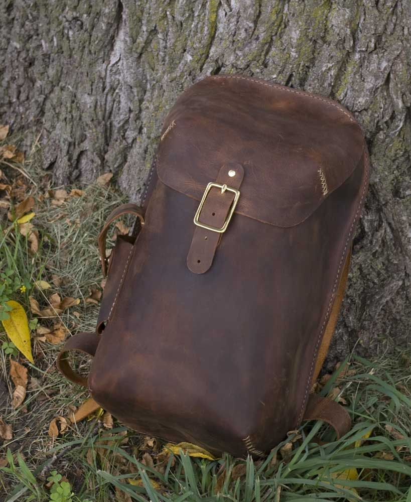Items similar to Handmade Leather Daypack on Etsy