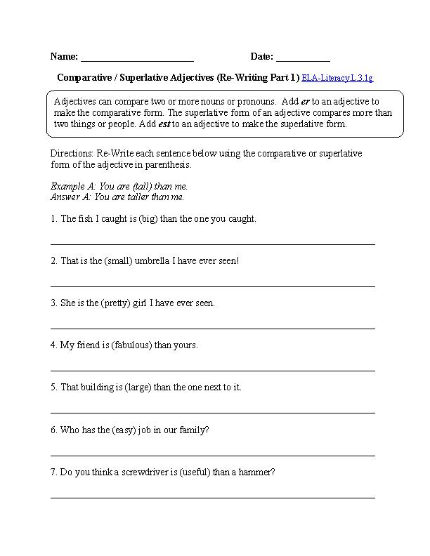 Comparative and Superlative Adjectives Worksheet 1 (L.3.1) | L.3.1 ...