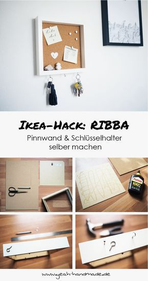 Photo of DIY Ikea Hack RIBBA: Pinnwand mit Schlüsselhalter – Yeah Handmade