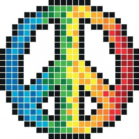 Peace love point de croix pixel art pixel art licorne et pixel art personnage - Dessin peace and love ...