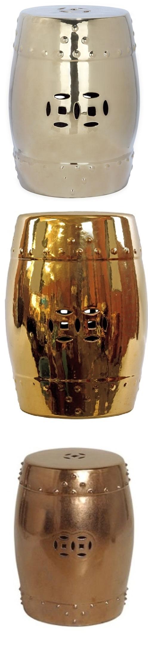 Gold Garden Stool | Gold Ceramic Stools | Gold Porcelain Stool ...