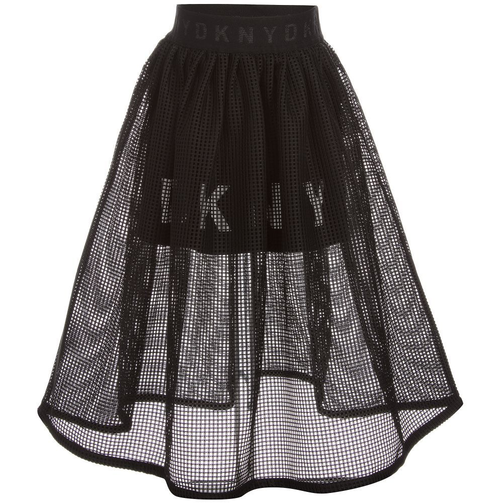 eafe8eeac92a Girls Black Mesh Skirt for Girl by DKNY. Discover more beautiful designer  Skirts for kids online