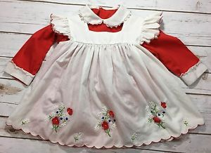 edeb207b10 Vintage 80s Baby Girl Red White Pinafore Floral Dress Fits 12 18 Months  Infant