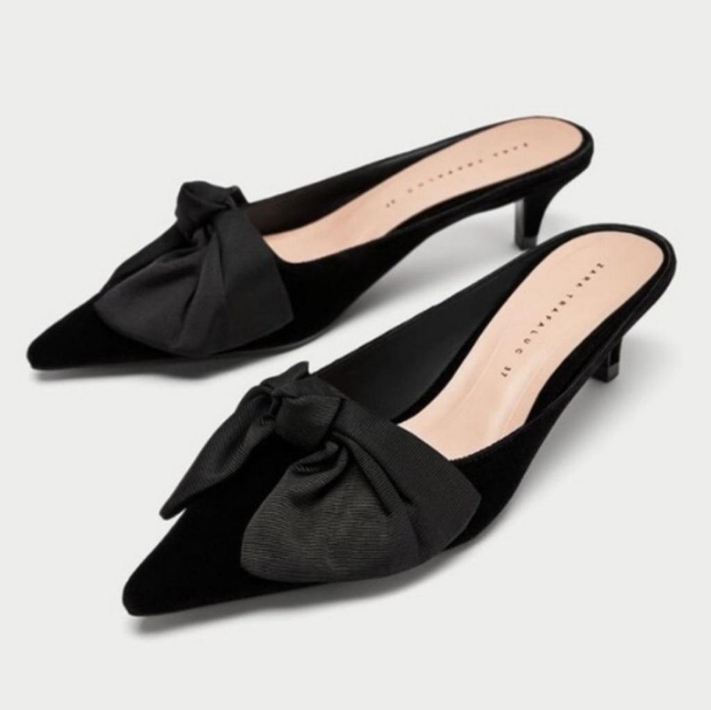 Zara Trafaluc Bow Kitten Heel Mules Nwt Kitten Heels Kitten Heel Shoes Bow Shoes