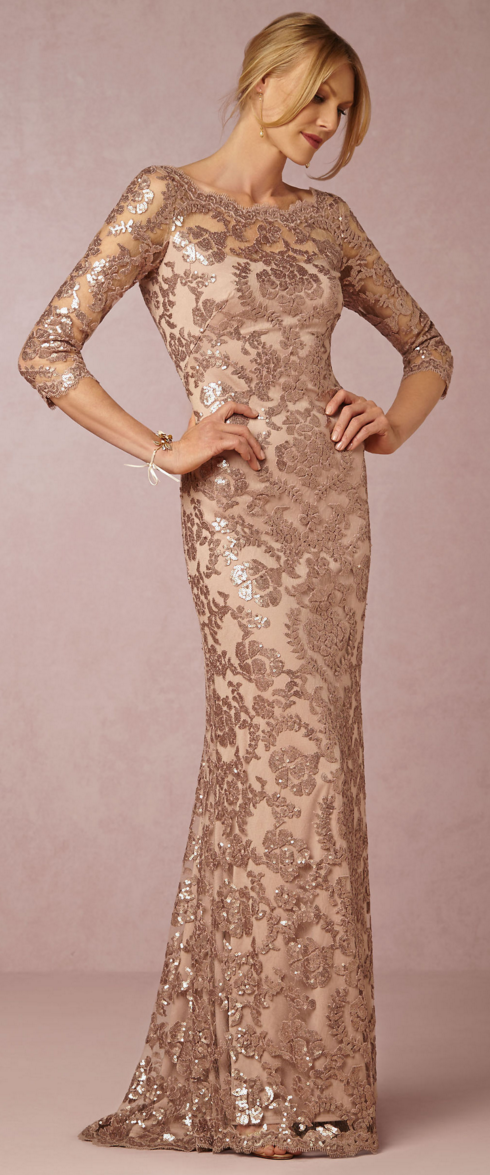 Mother Of The Bride Dress From Sequined Dusty Rose Lace To Scalloped Neckline This Half Sleeve Is Just Beautiful