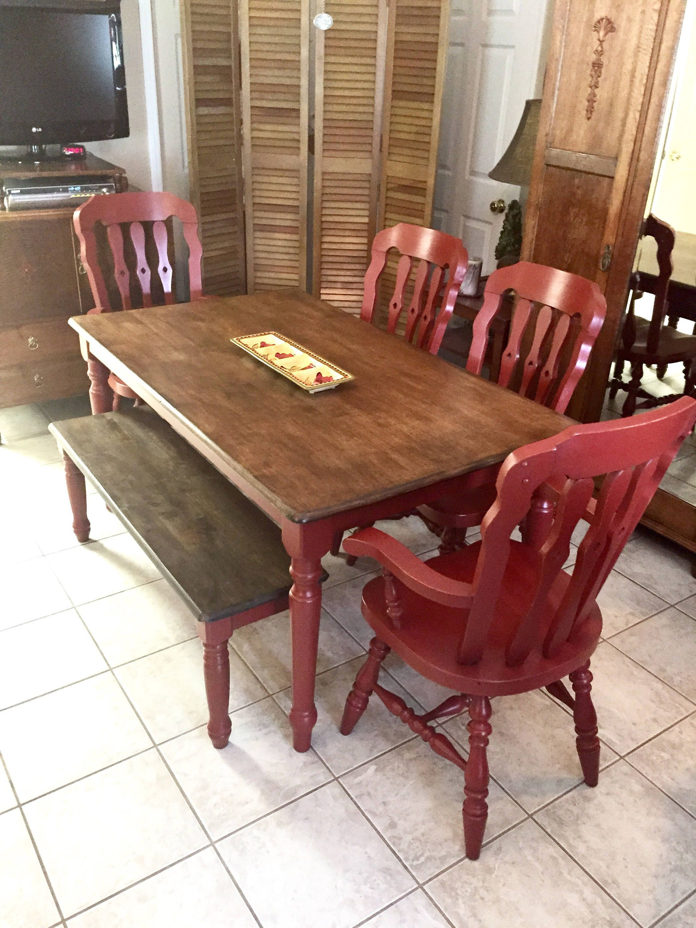 Farm table farmhouse dining chairs painted red rustic